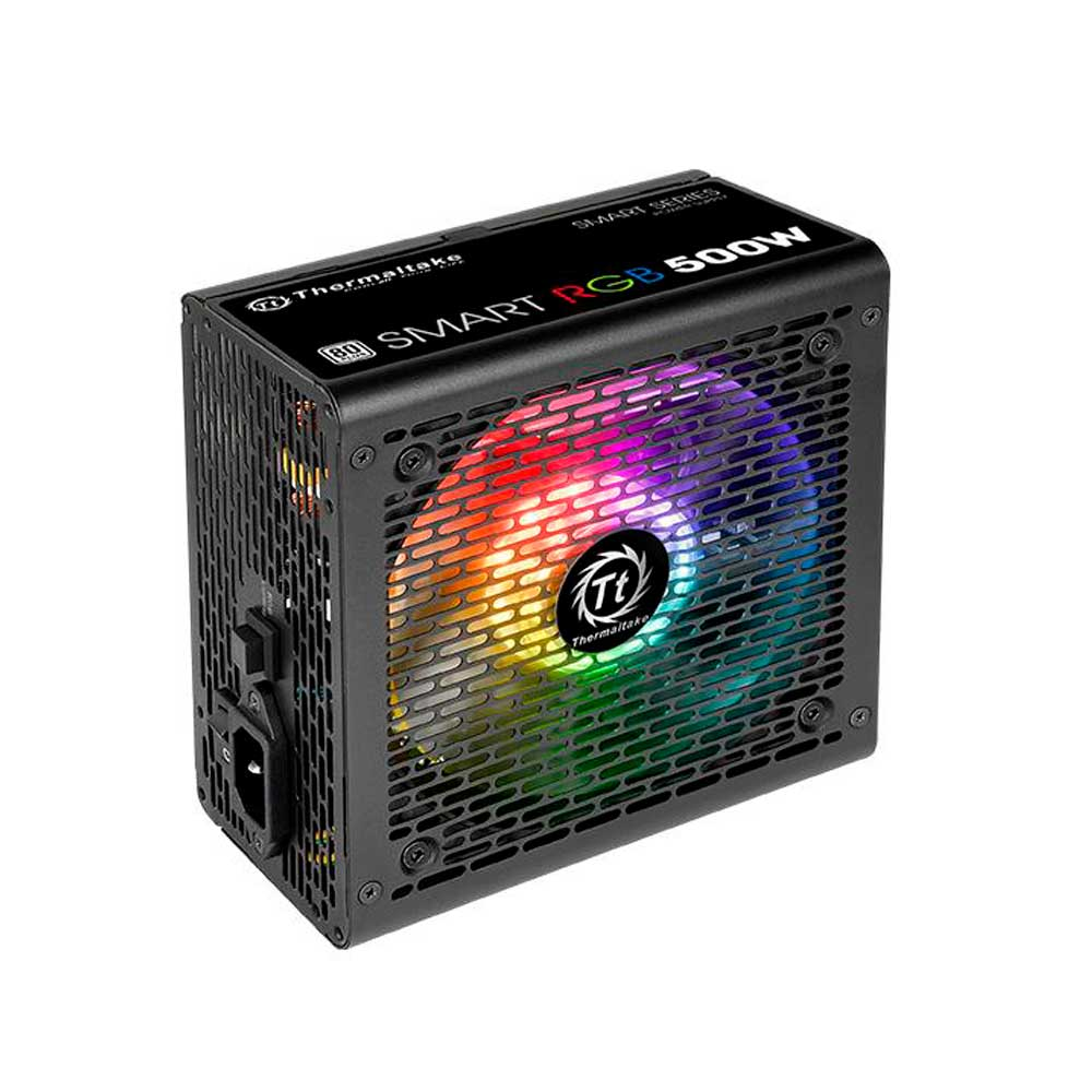 FONTE 500W TT SMART RGB 80+ FAN HUB/SLEEVED CABLE PS-SPR-0500NHFAWB-1*