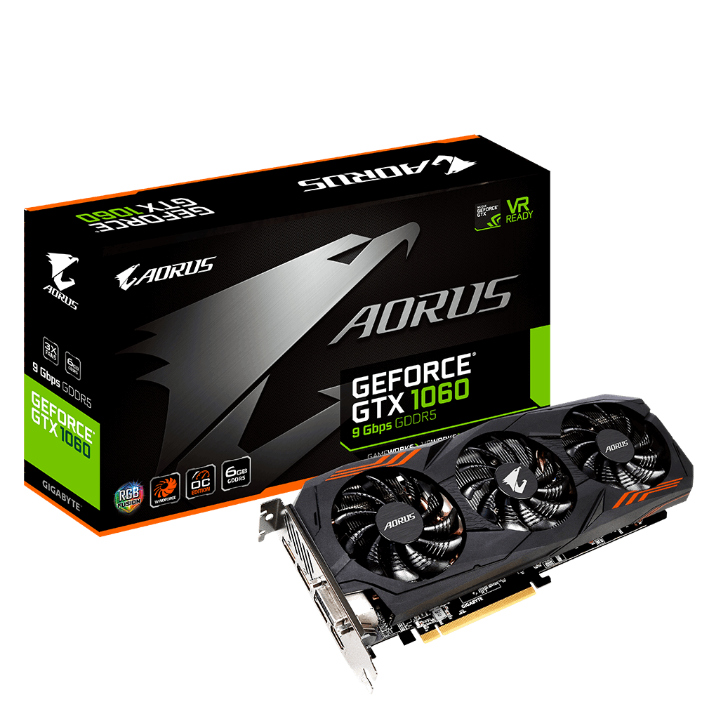 GPU GTX1060 6GB AORUS WINDFORCE 3X DDR5 GIGABYTE GV-N1060AORUS-6GD R2