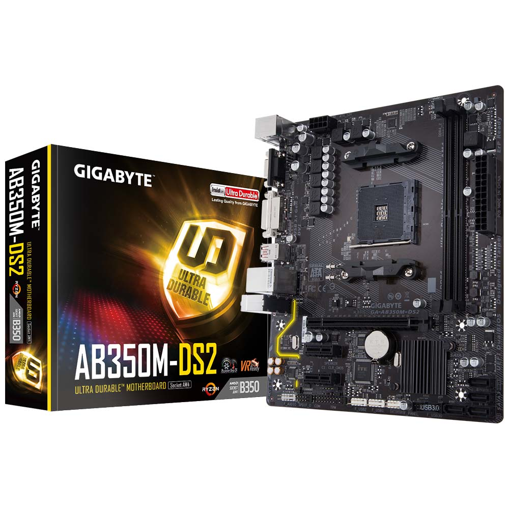 PLACA MÃE GIGABYTE B350 AMD AM4 GA-AB350M-DS2